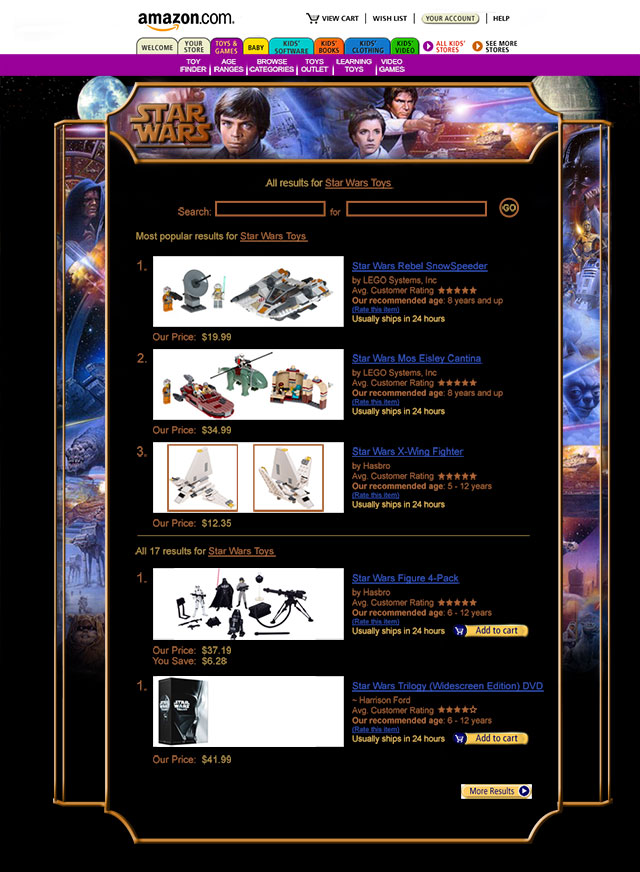 Star Wars Amazon Page